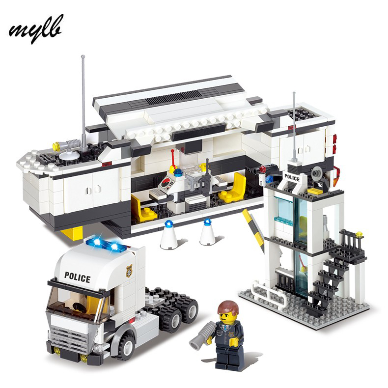 mylb 511pcs police Station Building Blocks Bricks Educational Toys Compatible with all brand city Birthday Gift Toy Brinquedos 6727 city street police station car truck building blocks bricks educational toys for children gift christmas legoings 511pcs