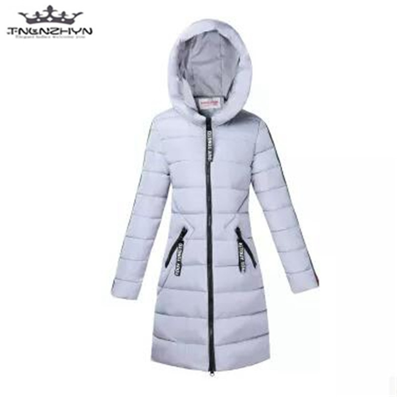 tnlnzhyn 2017 New Winter Jacket Women Long Down Cotton Jacket Slim Hooded Cotton Jacket Female Thick Warm Parkas Coats Y626
