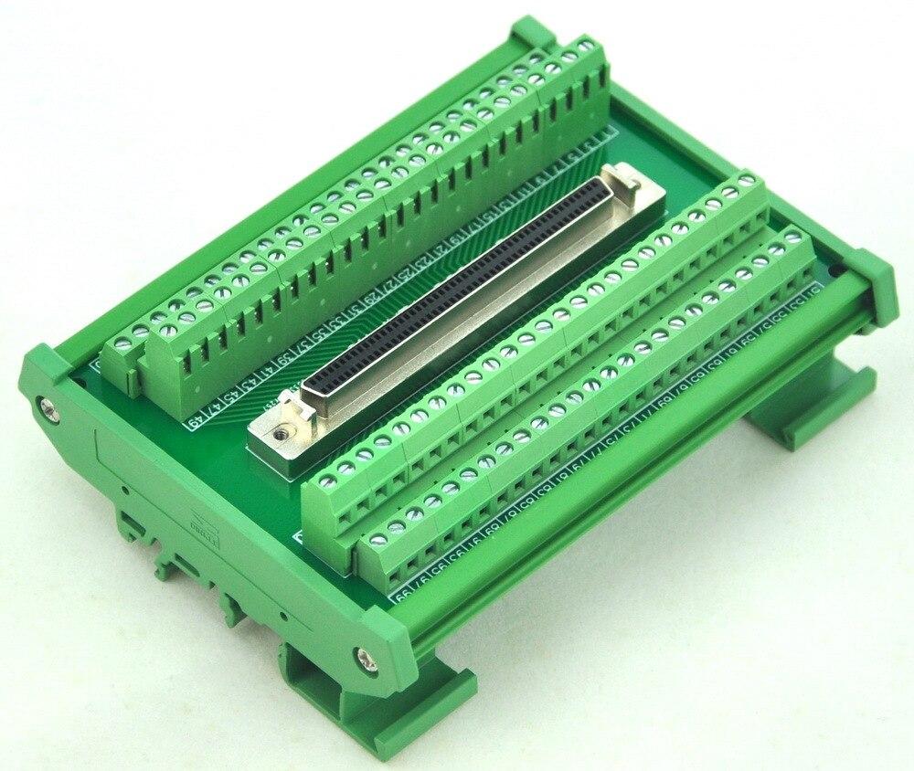 DIN Rail Mount 100-pin Half-Pitch/0.05 D-SUB Female Interface Module, DSUB, SCSIDIN Rail Mount 100-pin Half-Pitch/0.05 D-SUB Female Interface Module, DSUB, SCSI