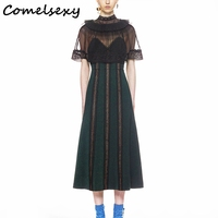 Comelsexy High Quality Runway Women Cloak Dress 2018 Summer Mesh Black Patchwork Lace Sexy Hollow Out Cape Self Portrait Dress
