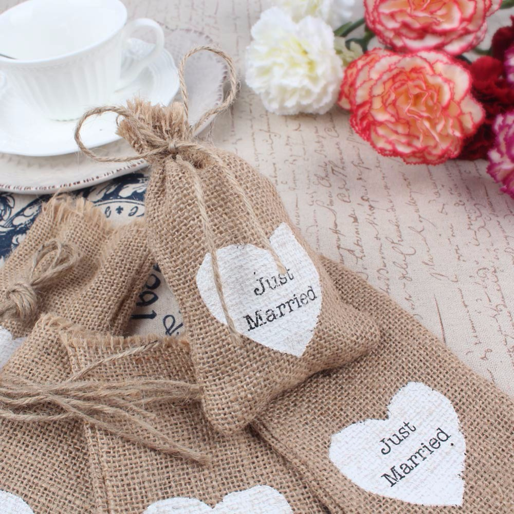 50pcs Burlap Pouch Jute Hessian Candy Gift Bag with White Love Heart Vintage for Wedding Decoration