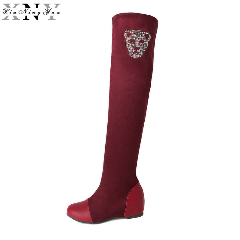 XiuNingYan 2017 New Plus Size Women Over The Knee Boots Thigh High Boots Ladies Fashion Keep Warm Chunky Heel Boots Snow Shoes