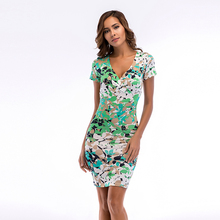 Summer Women Dress 2019  Vintage Sexy pencil dress New fashion slim floral deep V-neck print bodycon women dresses