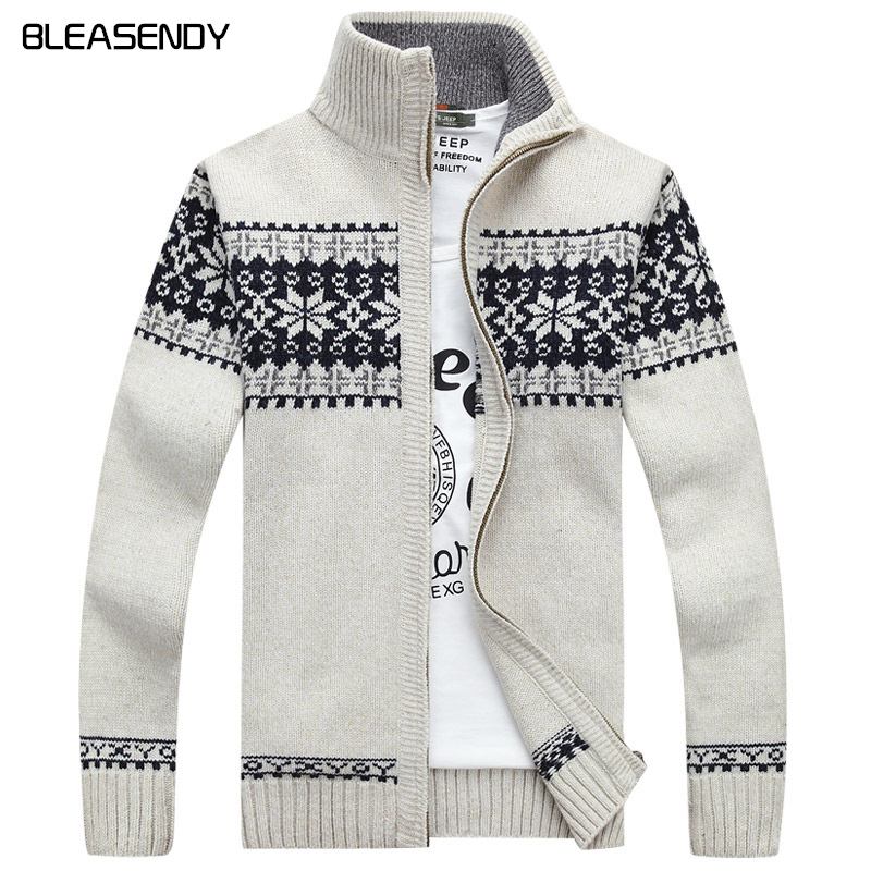 Christmas sweater Winter new pullover Snowflake pattern Men 's leisure  cardigan Fashion collar Male Thickening Wool jacket - Mens Patterned Cardigans Reviews - Online Shopping Mens Patterned