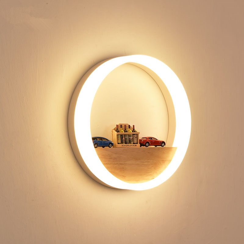 Bedroom Bedside Wood LED Aisle Corridor Light Northern Europe Simple Living Room Wooden Acrylic Round Wall Lamp Free Shipping bedroom bedside wood led aisle corridor light northern europe simple living room wooden acrylic round wall lamp free shipping