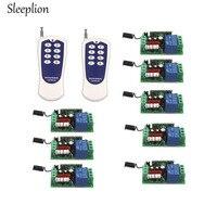 Sleelion US AC 110V 10A 1CH relé 8 vías de encendido/apagado inalámbrico RF 8 teclas transmisor interruptor con mando a distancia + 8 receptor 315MHz 433MHz|controles remotos| |  -