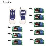 Sleeplion US AC 110V 10A 1CH Relay 8 Way ON/OFF Wireless RF 8 key Remote Control Switch Transmitter+8 Receiver 315MHz 433MHz