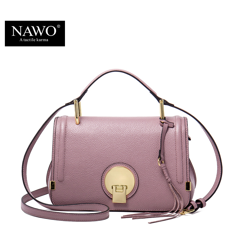 NAWO Genuine Leather Women Messenger Bags Pink Small Handbags Designer Brand Real Leather Crossbody Bags Ladies Tassel Women Bag цена
