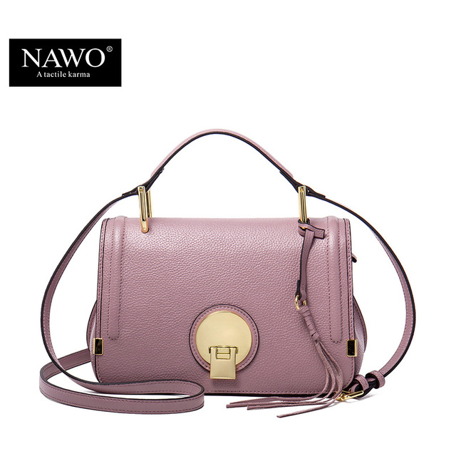 245c99f1d7ab NAWO Genuine Leather Women Messenger Bags Pink Small Handbags Designer  Brand Real Leather Crossbody Bags Ladies