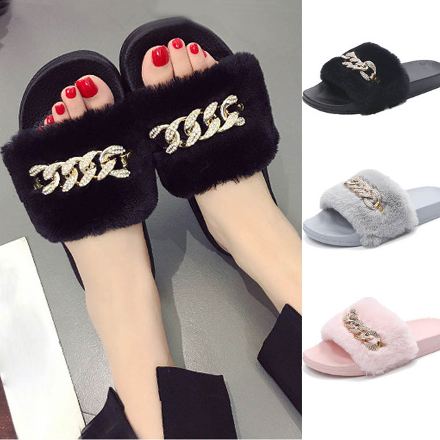 b0d8ecbd391b Womens Slippers Ladies Slip On Sliders Fluffy Faux Fur Flat Slipper Flip  Flop Sandal Casual Soft