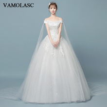 VAMOLASC Lace Appliques Off The Shoulder Ball Gown Wedding Dresses Boat Neck Sequined Backless Bridal Gowns