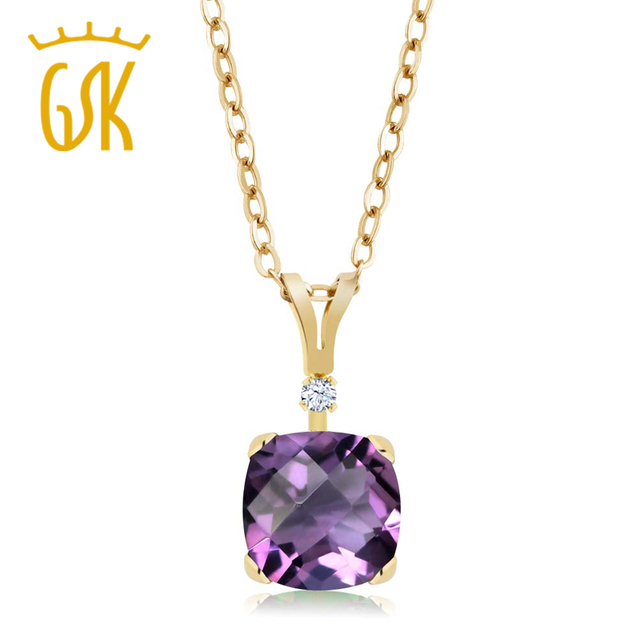 GemStoneKing 1.32 Ct Cushion Checkerboard Purple Natural Amethyst 14K Yellow Gold Solitaire Pendant Necklace For Women