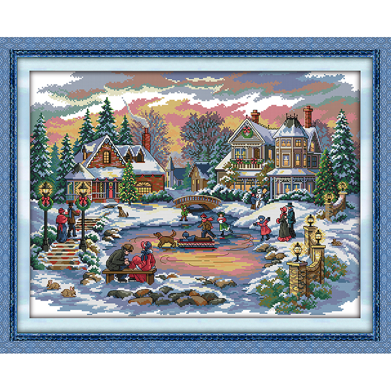 Everlasting love Christmas Treasure time Chinese Ecological cotton Cross Stitch 11CT and 14CT Printed decorations for home gift
