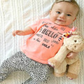 stylish design baby girl clothing sets lovely letter print t-shirt and leopard pants infant toddler clothing for spring