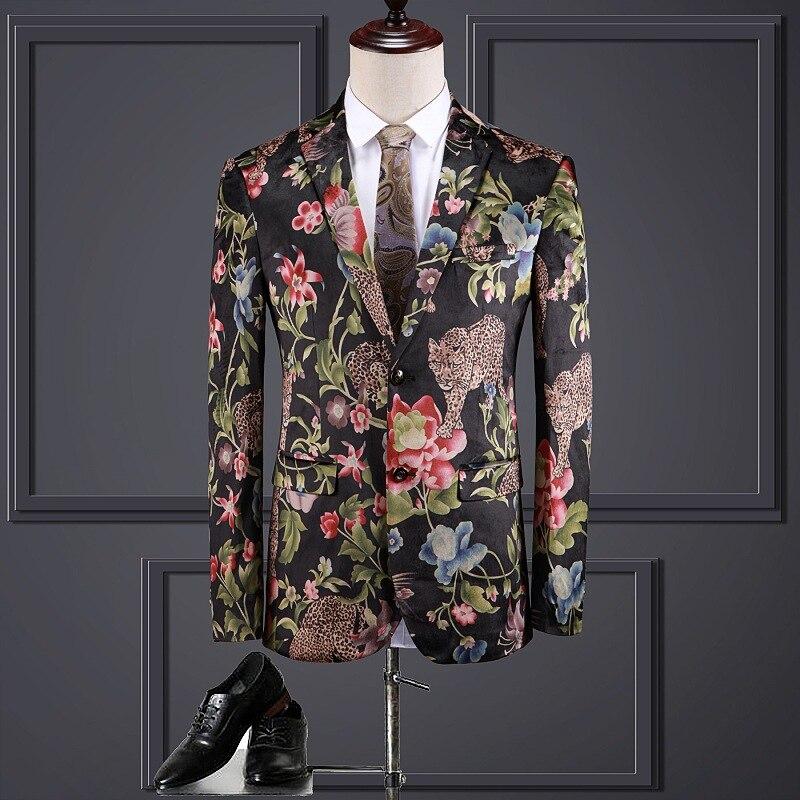 Men's Jackets Are Now Popular New Men's Slim Floral Pattern Single-breasted Jacket Men's Business Formal Jacket Banquet Dress