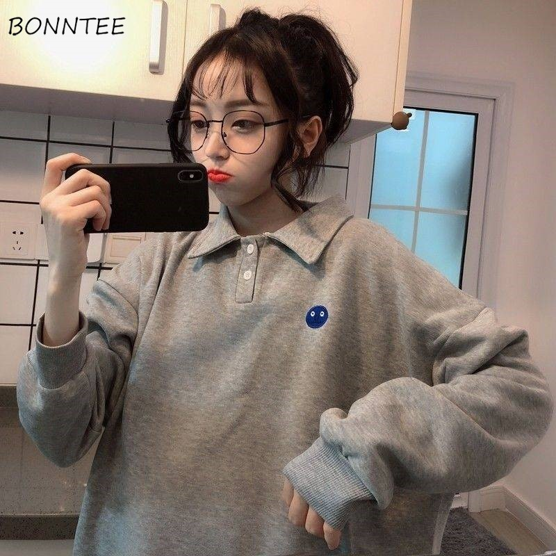Hoodies Women Spring Autumn Winter Trendy Simple Embroidery Kawaii Ulzzang Solid Preppy Style Womens Clothing Chic Loose Soft