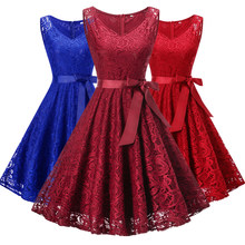 New lace up red lace up short V collar wedding party prom dress 2018 bride  marry Bridesmaid Elegant lady party Dresses 4eae1ca02104