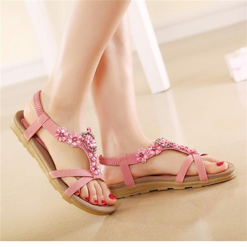 2017 women sandals bohemia flower Summer women Shoes Slip-on flats sandals Casual ladies shoes sandalias mujer big size CCDT239 полотенце вышивка крестиком 42х72см тп7195 1083142