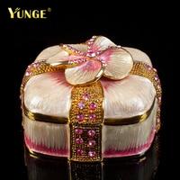 Kawaii Pink Flower Quality Pewter Trinket Box Crystal Dressing Case Women Gift Vintage Necklace Casket Wedding
