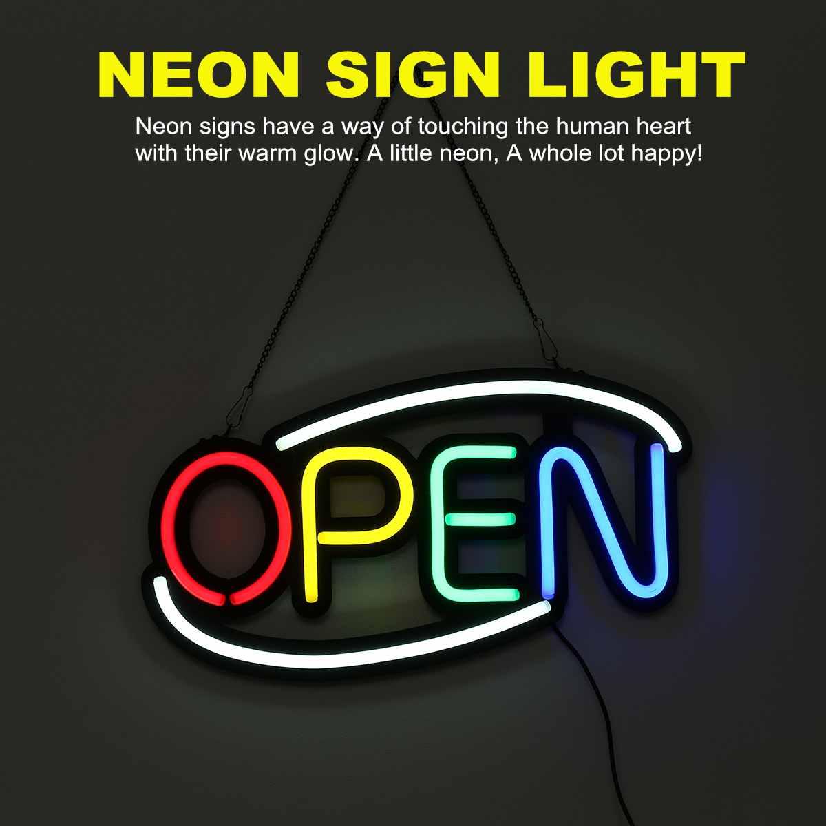 Enseigne au néon ouverte Tube de lumière LED à la main illustration visuelle Bar Club KTV décoration murale éclairage Commercial ampoules au néon 50*26*3cm