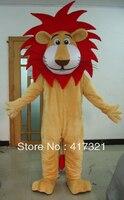 Kısa peluş kırmızı saç aslan maskot kostüm yetişkin için