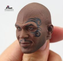 1/6 Scale fighting Champion Mike Tyson Head Carved Model with Tattoo Carving for muscule body