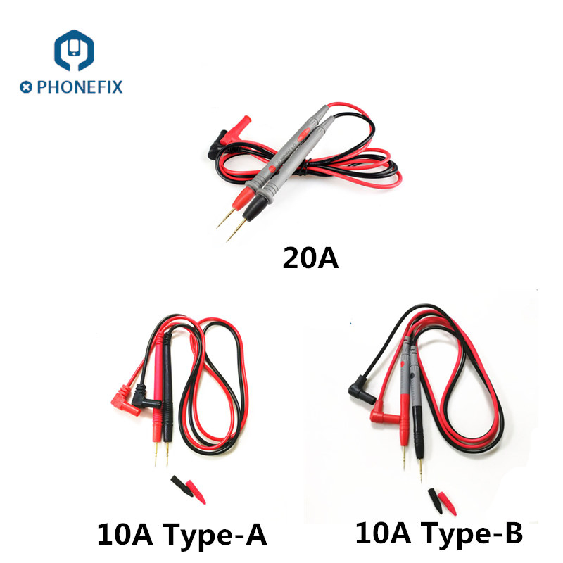 PHONEFIX 1000V 20A10A Superfine Needle Tip Wire Pen Alligator Clips Clamp Cable For Multimeter Tester Digital Multimeter IC Pin