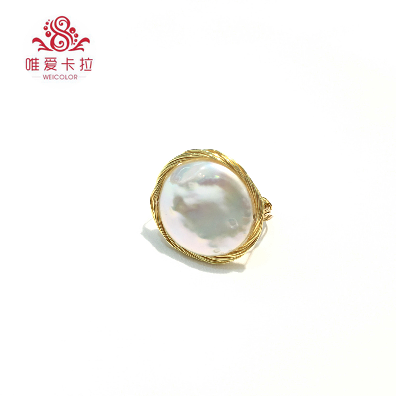 WEICOLOR DIY Design Handmade Ring.18 22mm Good Natural Freshwater Coin Pearl on Gold Mixed. Contact for Size in Diameter. - 3