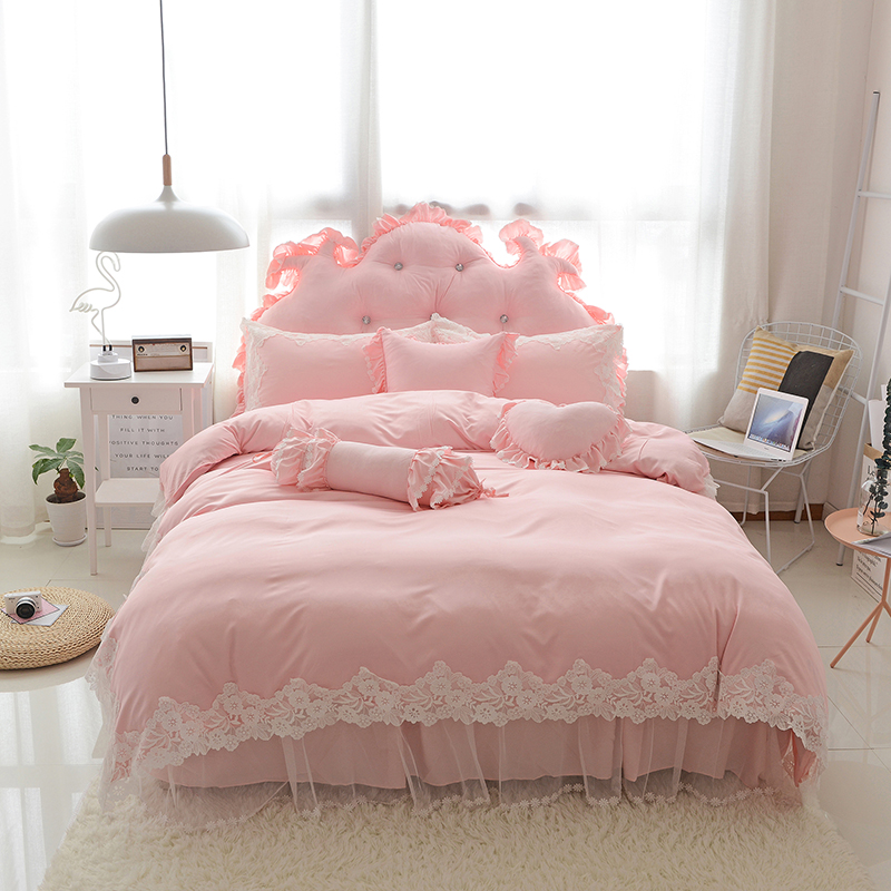 Korean style Bedding Set lace Duvet Cover with Pillowcases bed skirt Stylish Soft Qualified Bedclothes Multi Sizes 4/6/8pcsKorean style Bedding Set lace Duvet Cover with Pillowcases bed skirt Stylish Soft Qualified Bedclothes Multi Sizes 4/6/8pcs