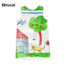 Летнее платье для девочек kimocat с рисунком мультяшного кота