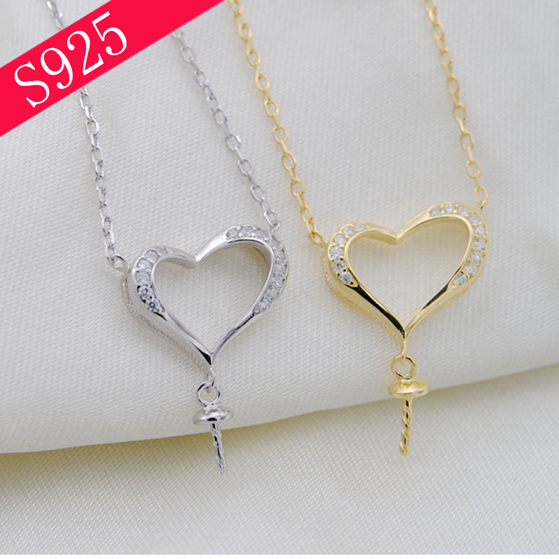 925 Silver Necklace Love Heart Pearl O Chain Woman Pearl Bead Jewelry Making DIY Acessories