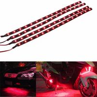 4PCS Autos Interior Red Waterproof Flexible Lighting 30cm 15 LED 12V 3528 SMD Car Truck Motor LED Strip light