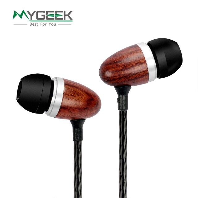 Mygeek diy fones de ouvido profissional no ouvido fone de ouvido 3.5mm fone de ouvido hi-fi stereo isolamento de ruído de ouvido monitor de fones de ouvido de madeira