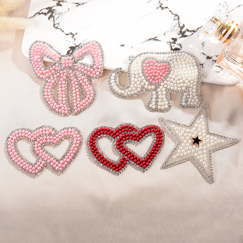 Diamond Painting Sparkling Rhinestone Animal Stickers Clothes Patches Fashion Sequined DIY Appliques Bling Iron-on Patch