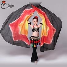 Children Performance Props 1 Pair Half Moon Dance Veil Silk Rainbow Belly 100% Circle Wings include bag sticks
