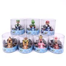 цены на 9cm Super Mario Bros Kart Pull Back Car Figure Toys Anime Mario Luigi Yoshi Donkey Kong Bowser Princess Toad PVC Figma Model  в интернет-магазинах