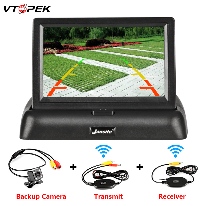 VTOPEK 4.3 Polegada TFT LCD Monitor Do Carro Dobrável Exibição Do Monitor Reverso Sistema de Estacionamento Da Câmera para Retrovisor Do Carro Monitores PAL NTSC