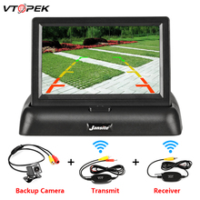 купить VTOPEK 4.3 Inch TFT LCD Car Monitor Foldable Monitor Display Reverse Camera Parking System for Car Rearview Monitors NTSC PAL дешево