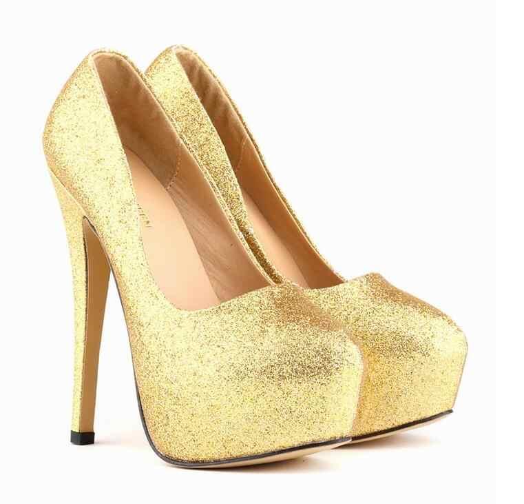 Plus Size 35-42 Ladies Shoes Women Glitter Gorgeous High Heels Platforms Bridal  Wedding Shoes 84cb2ed51e3c