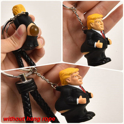 Keyring Funny Car Spoof Toy Simulation Poop Keychain President Donald Trump Doll Pendant Squeeze Bag