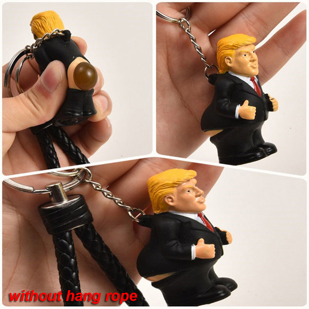 Keyring <font><b>Funny</b></font> Car Spoof Toy Simulation Poop Keychain President Donald Trump Doll Pendant Squeeze Bag image