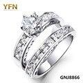 Gnj8866 Высокое качество CZ кристалл обручальные кольца комплект 100% реального чистый 925 кубический цирконий кольца комплект для женщин