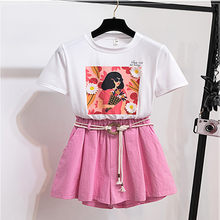 Summer Women Shorts Suit 2019 Fashion White Print Character Floral T-Shirt And Pink Wide - Leg Casual 2 Piece Set With Belt(China)
