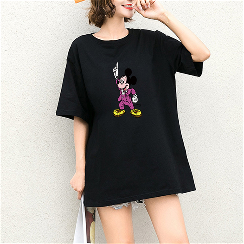 New Summer Tshirt Mickey Mouse Cartoon Print Short Sleeve Harajuku Tops amp Tees Casual Streetwear Cotton Plus Size T Shirts Women in T Shirts from Women 39 s Clothing
