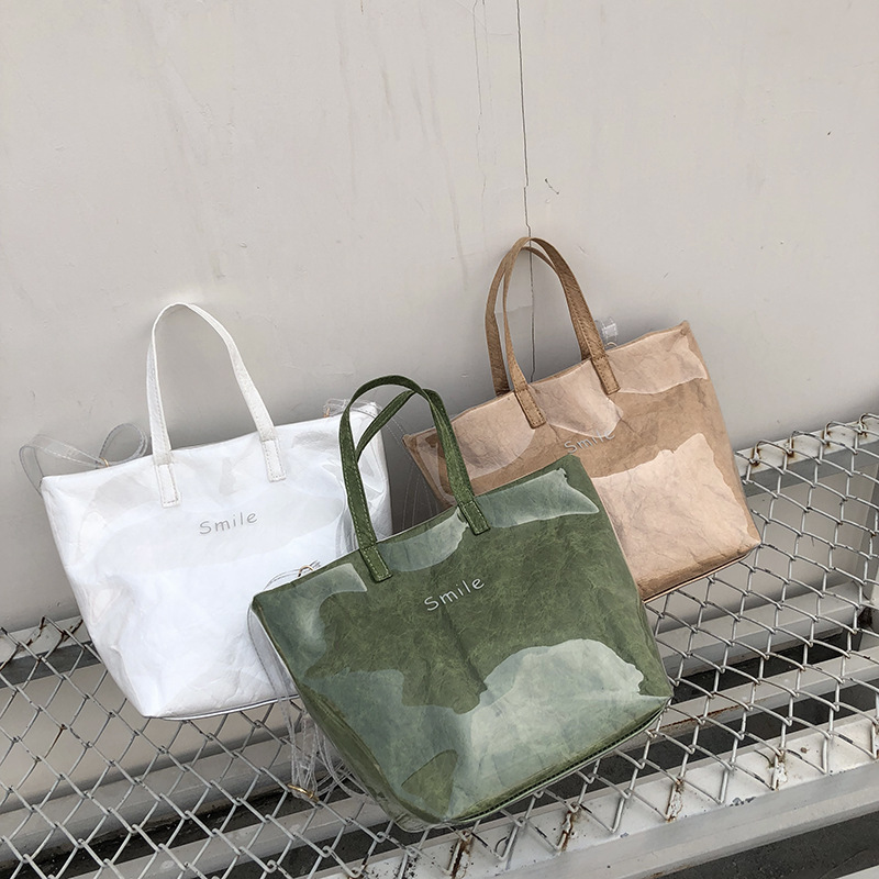 NEW Women Bag Women Handbags Casual Bag Transparent Kraft Paper Totes Letter Woman Bags Fashion One Shoulder Shopping Bag