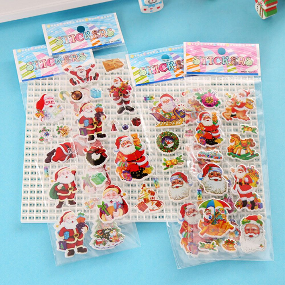 1PCS  Christmas Gifts Merry Christmas 3D Carton Bubble Sticker Santa Claus Puffy Stickers  Happy New Year Decoration For Kids