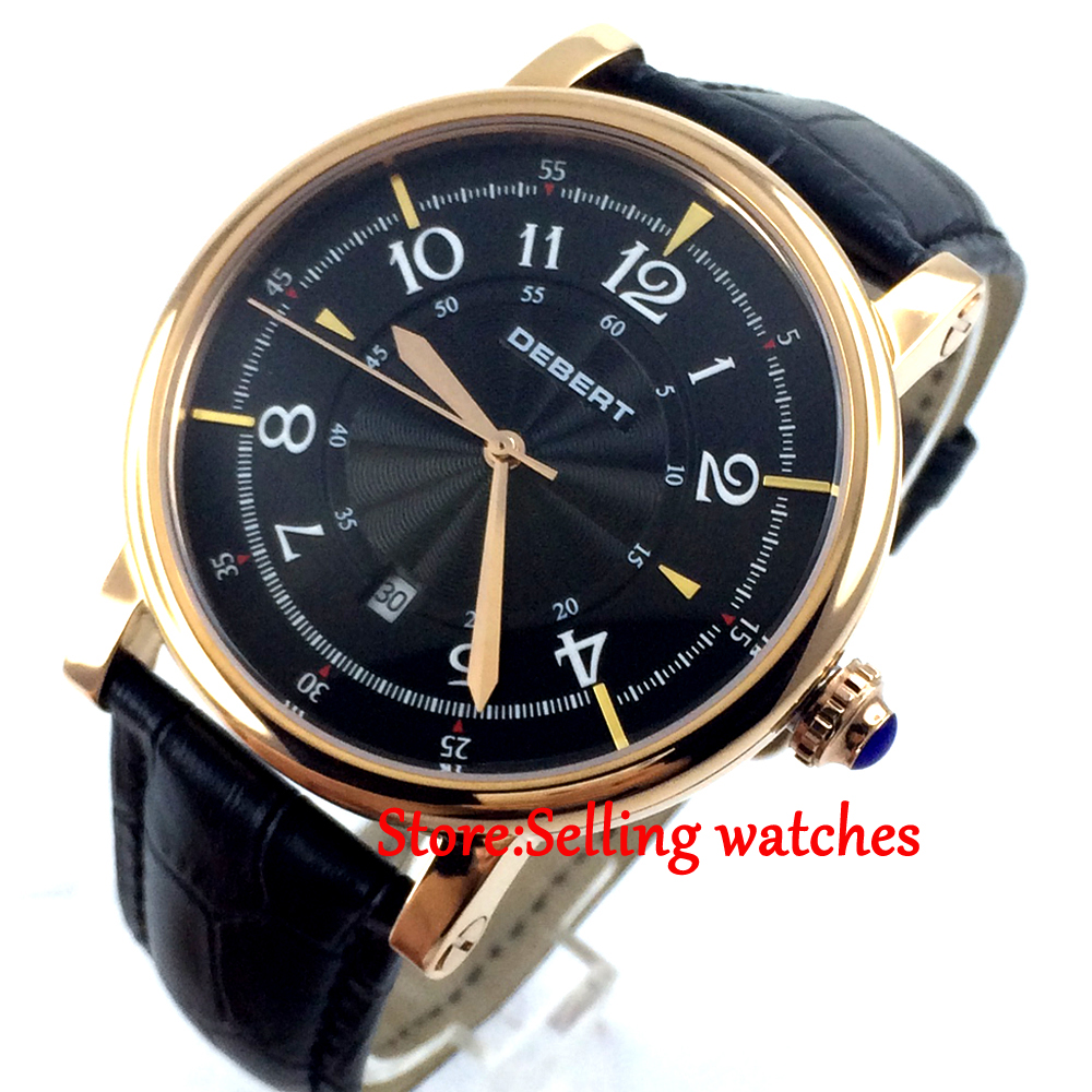 43mm debert black dial rose golden case 21 jewels miyota Automatic mens Watch 36mm debert golden dial 21 jewels miyota automatic diamond mens watch d11