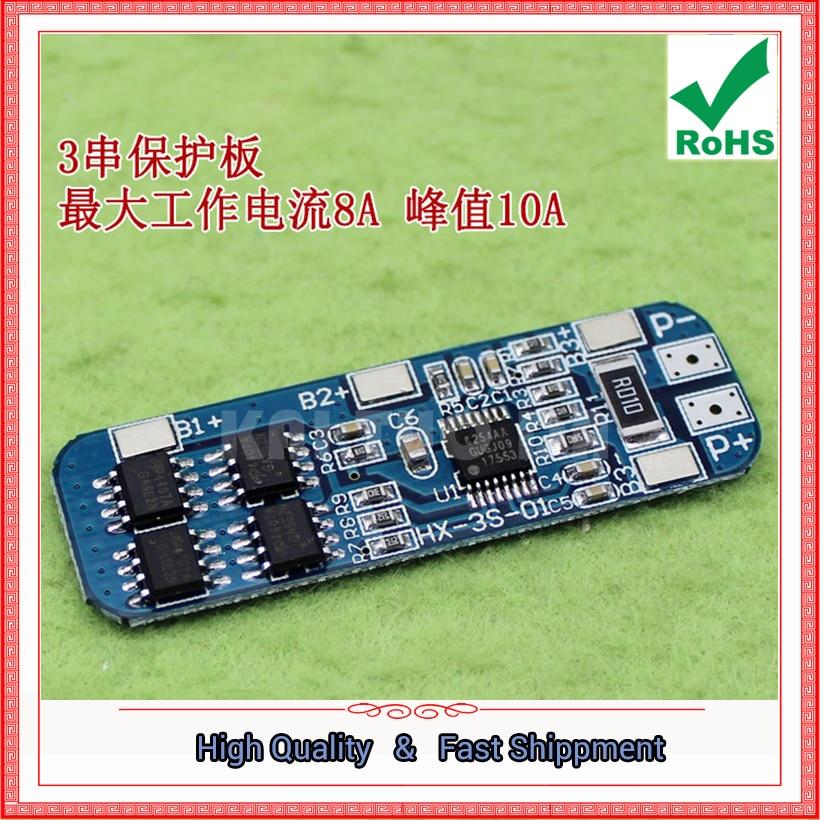 3 Series//Packs//String 12V 18650 Lithium Battery Protection Board 11.1V 12.6V 10A