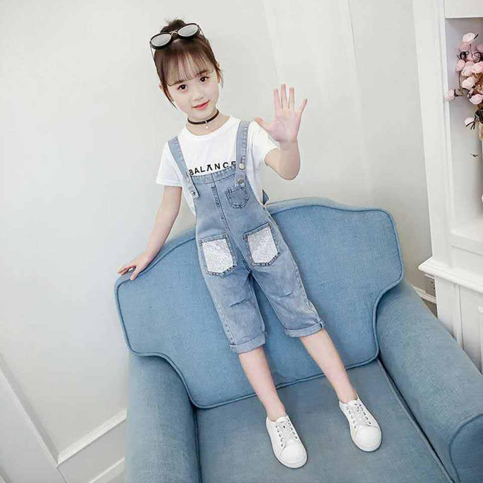 Новые летние комплекты одежды для маленьких девочек 2019 г. Повседневная джинсовая футболка и шорты детские комплекты одежды летняя одежда без рукавов для малышей