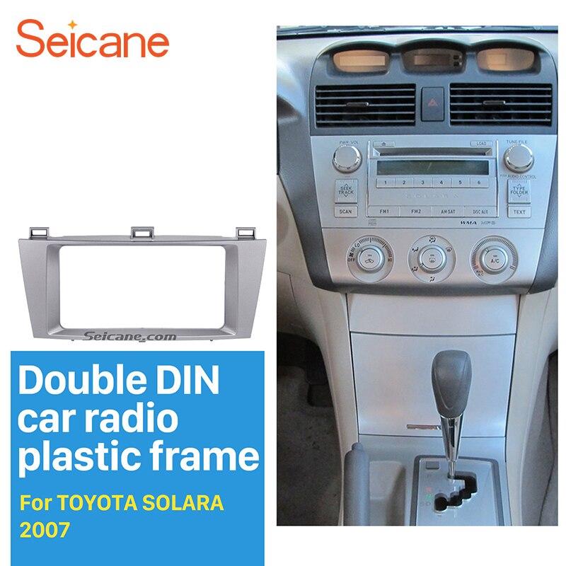 Seicane Argent 2Din Autoradio Fascia pour 2007 Toyota Solara Support Tableau de Bord Kit Stéréo Radio Installation Repose Cadre De Voiture-style